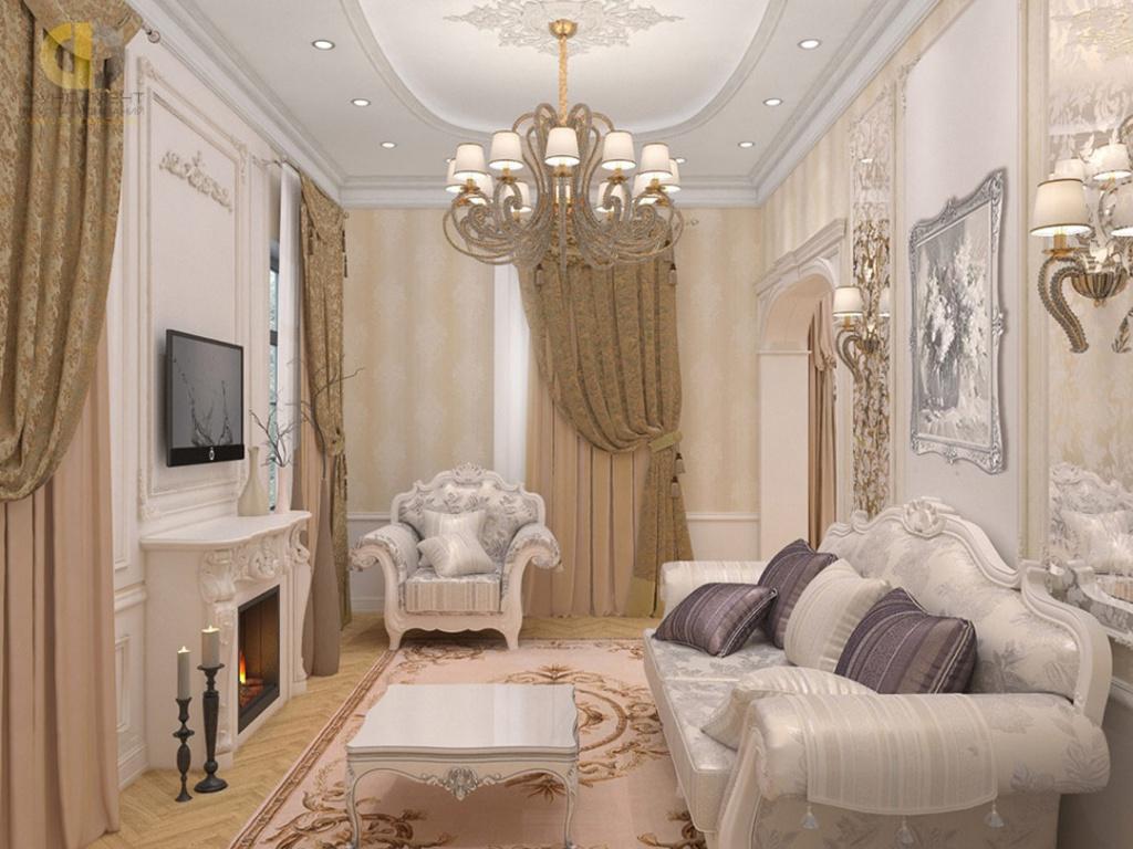 Интерьер гостиной в загородном доме в классическом стиле