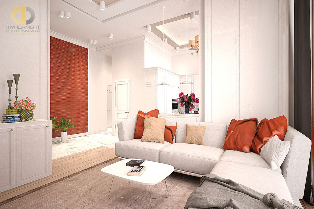 Дизайн гостиной комнаты в квартире в современном стиле. Фото 2018