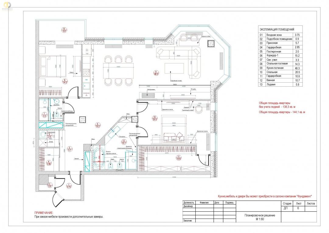 План расстановки мебели в квартире на Маломосковской