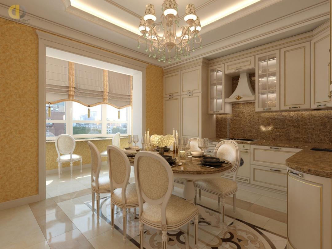 Дизайн классической кухни с римскими шторами