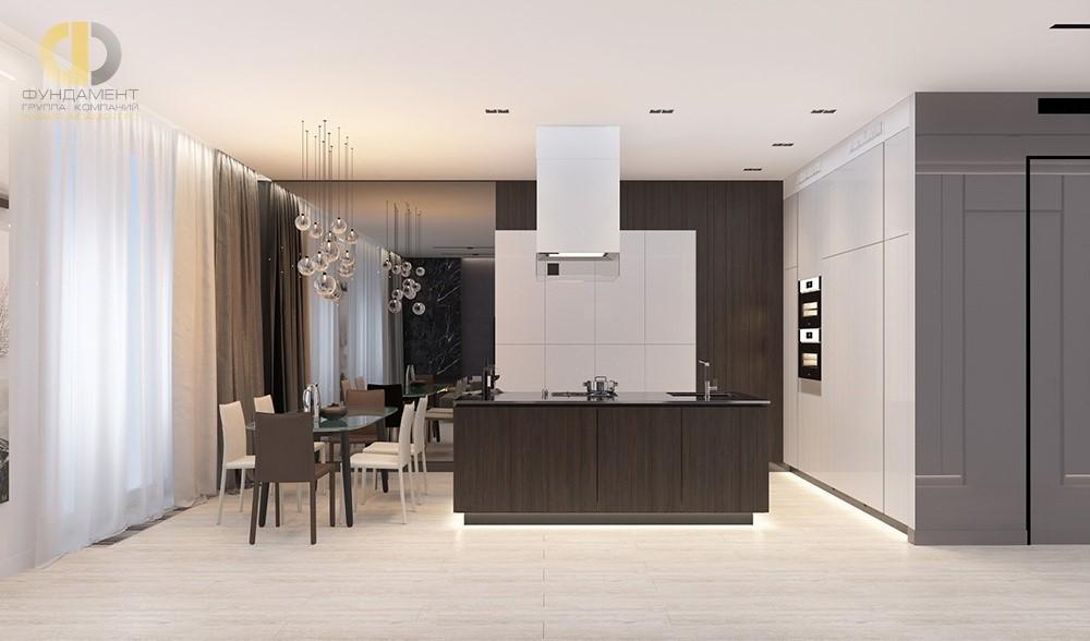 Зеркальная стена в интерьере кухни