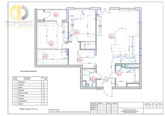 Планировочное решение с планом расстановки мебели