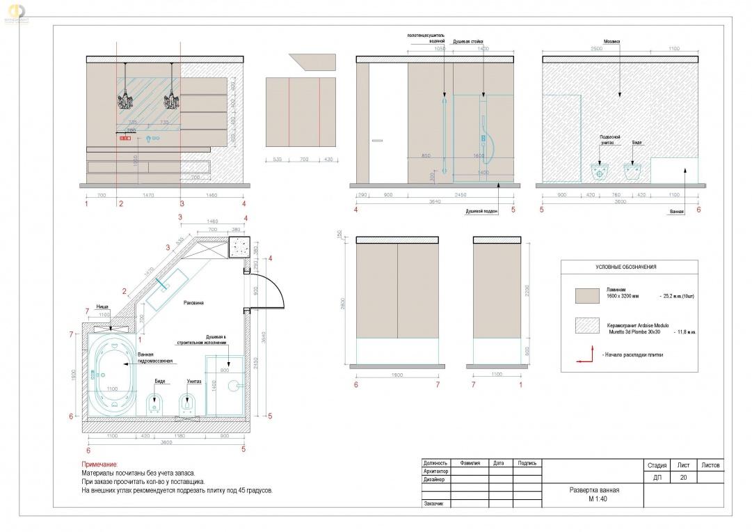 Дизайн-проект помещений квартиры в ЖК «Эдельвейс» - развертка ванная