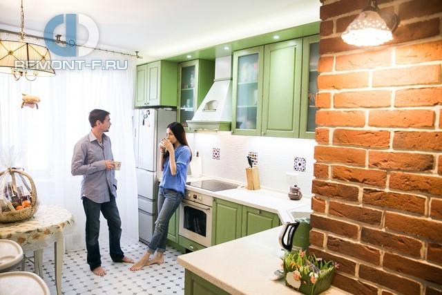 Интерьер 2-комнатной квартиры в стиле прованс. Фото кухни