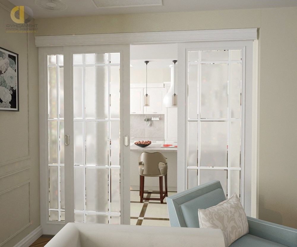 Красивый интерьер с раздвижными дверями