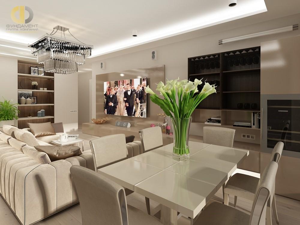 Кухня-столовая в классическом стиле в квартире. Фото из портфолио