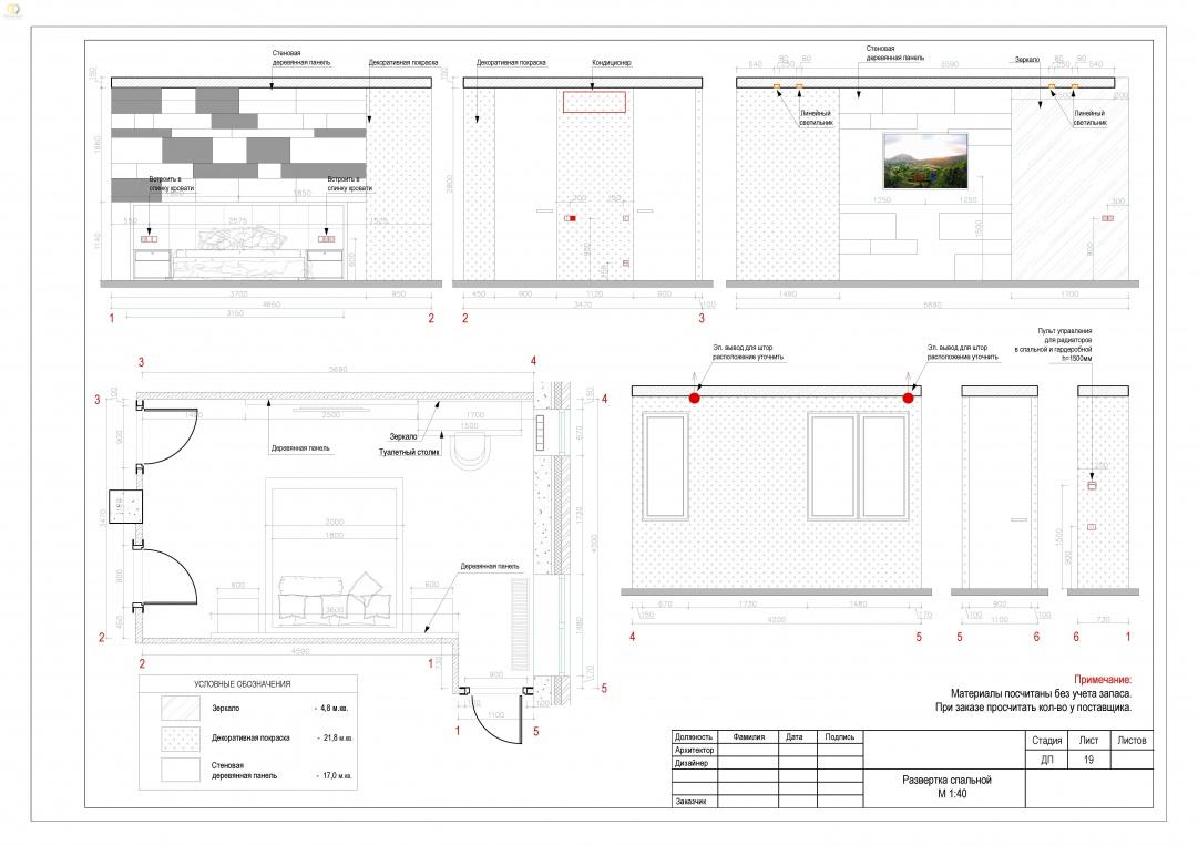 Дизайн-проект помещений квартиры в ЖК «Эдельвейс» - развертка спальной комнаты