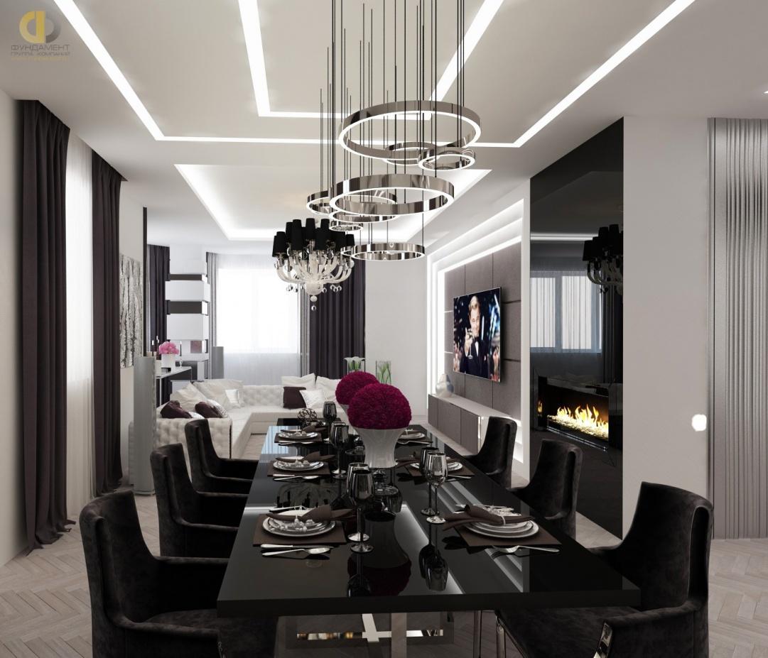 Дизайн помещений трехкомнатной квартиры в ЖК «Эдельвейс» – гостиная-столовая с камином