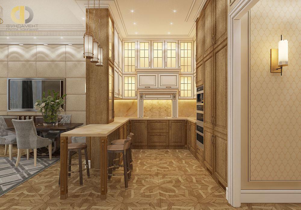 Интерьер кухни в нише в стиле ар-деко