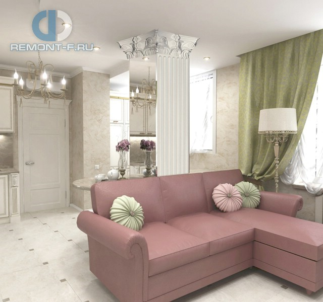 Зеркальная белая колонна в декоре гостиной с угловым диваном
