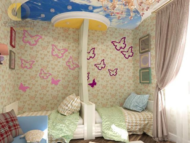 Дизайн детской комнаты для двух девочек. Фото