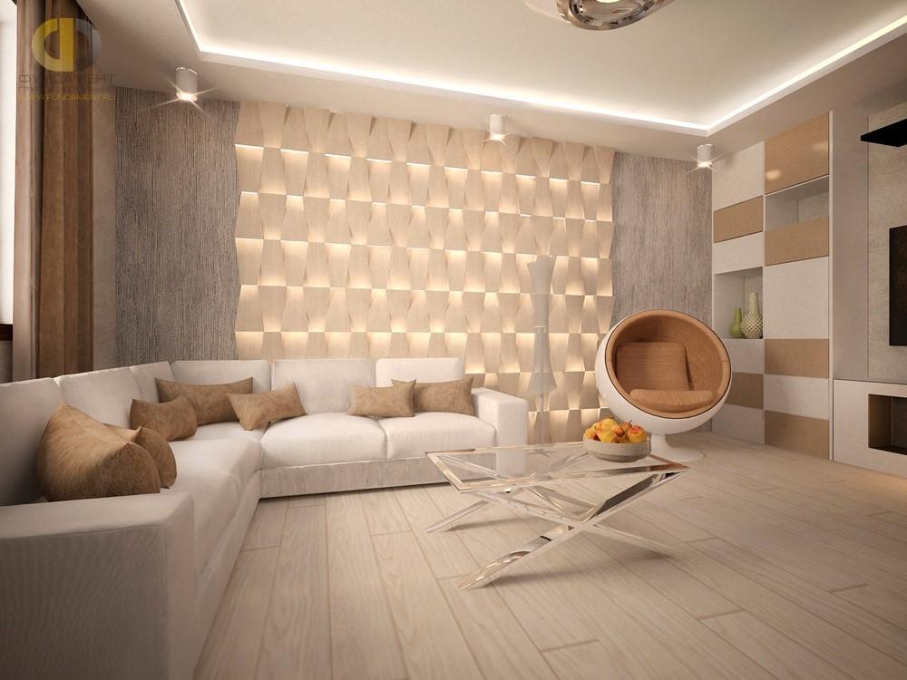 Красивый интерьер гостиной в светлых тонах
