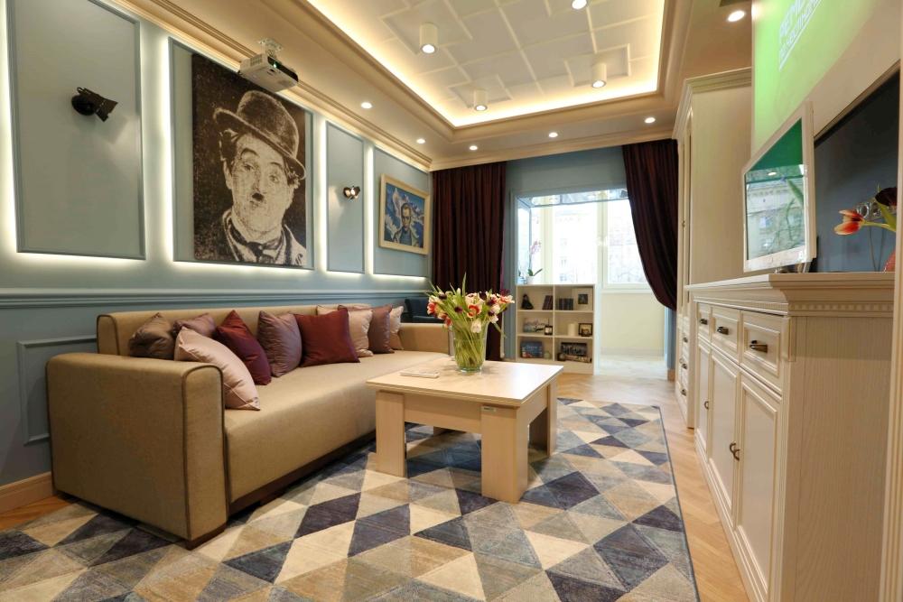 Интерьер гостиной в квартире Дениса Шведова после окончания ремонта