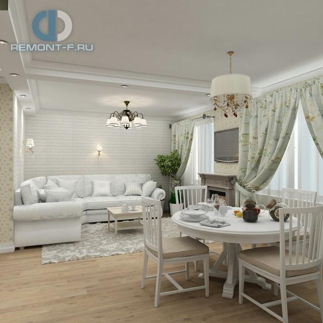 Гостиная-столовая со светлой мебелью в стиле прованс. Фото интерьера