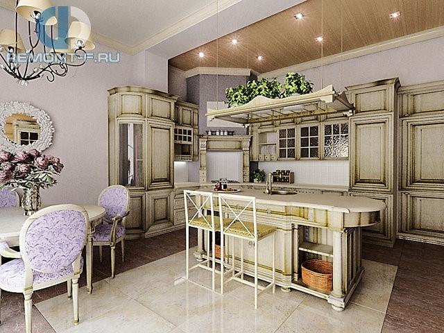 Проект кухни в стиле прованс с кухонным островом
