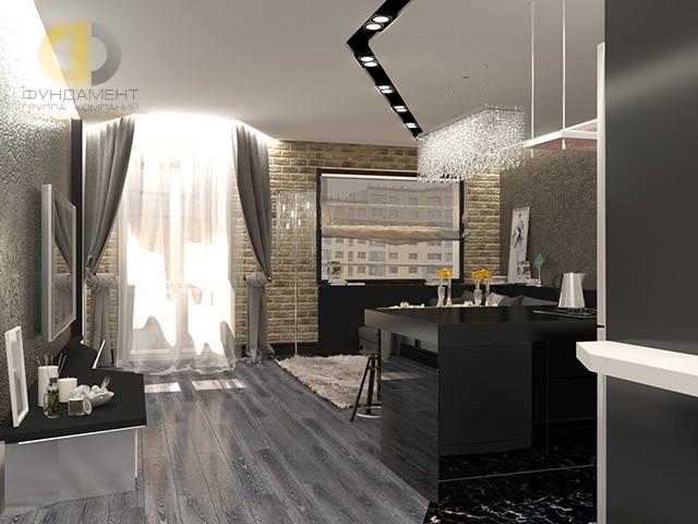 Интерьер кухни-гостиной в стиле арт-деко с кирпичной стеной