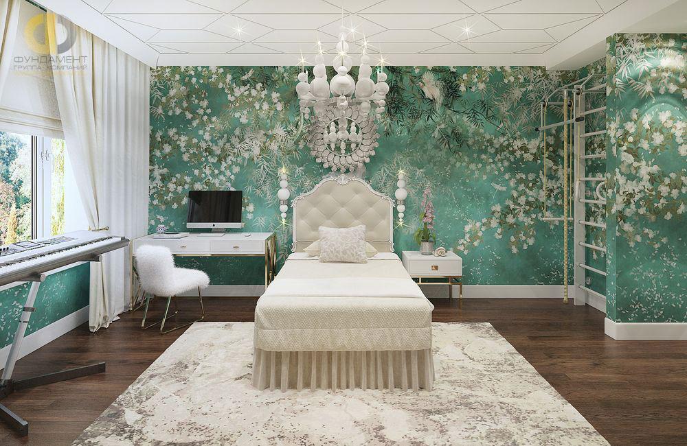Сочетание бирюзового и белого цвета в интерьере детской комнаты