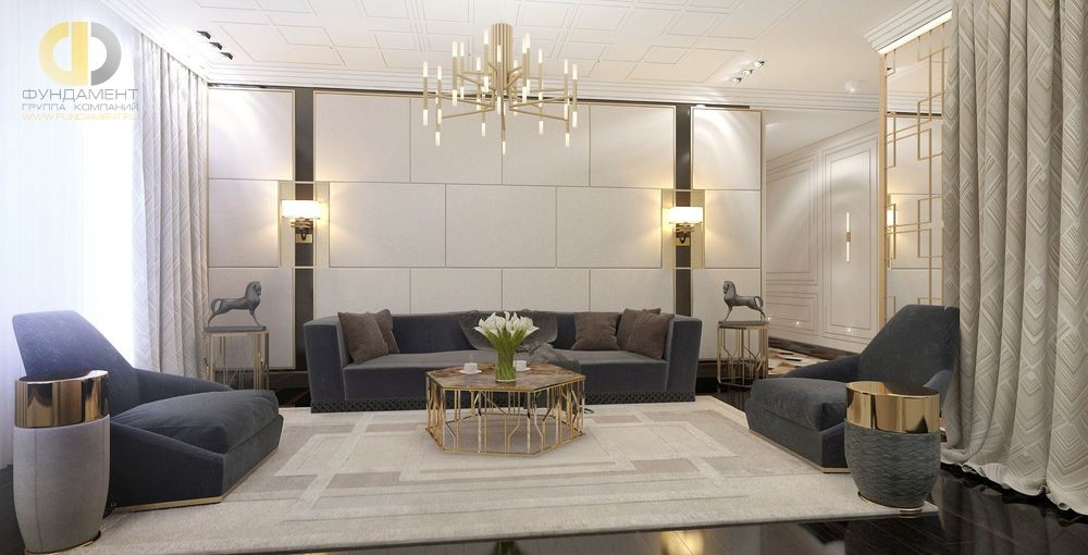 Интерьер современной гостиной комнаты с геометричными узорами