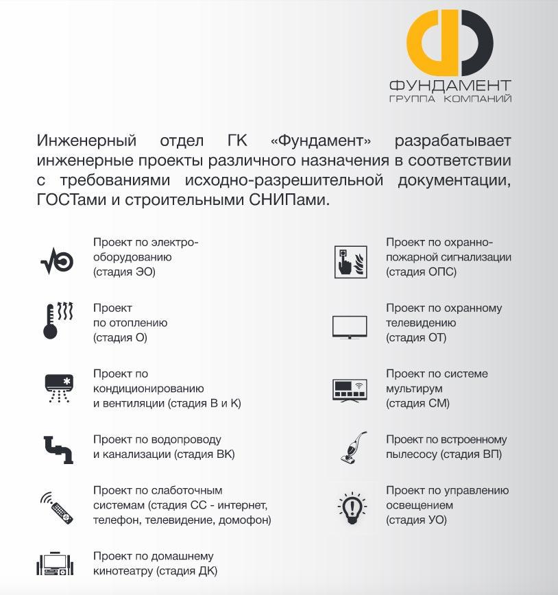 Виды инженерных проектов, разрабатываемых в ГК «Фундамент»