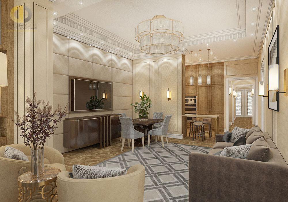 Интерьер гостиной комнаты в теплых тонах