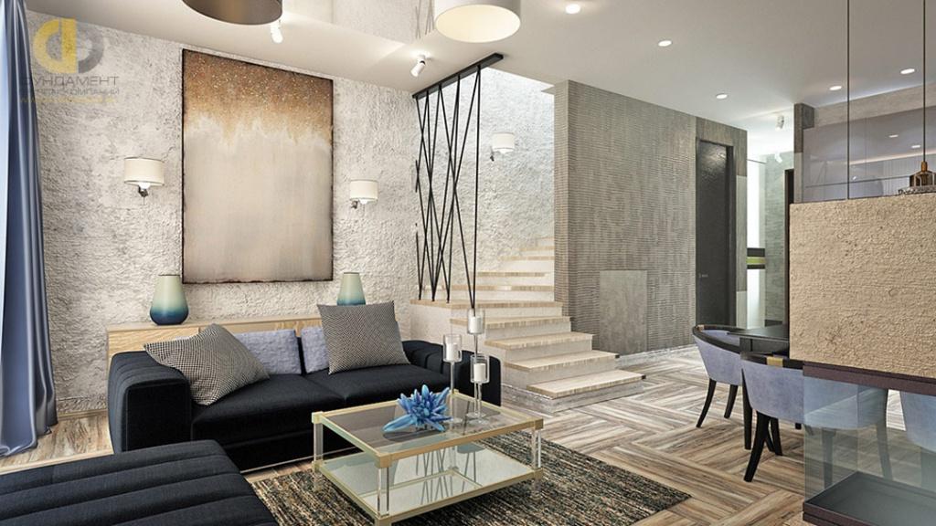 Интерьер гостиной в загородном доме в современном стиле