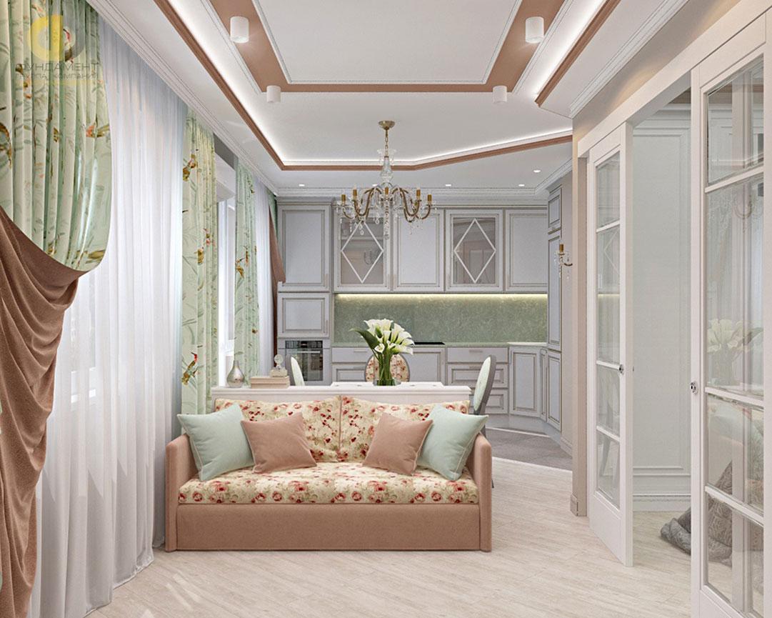 Интерьер гостиной комнаты в квартире в стиле прованс. Фото 2018