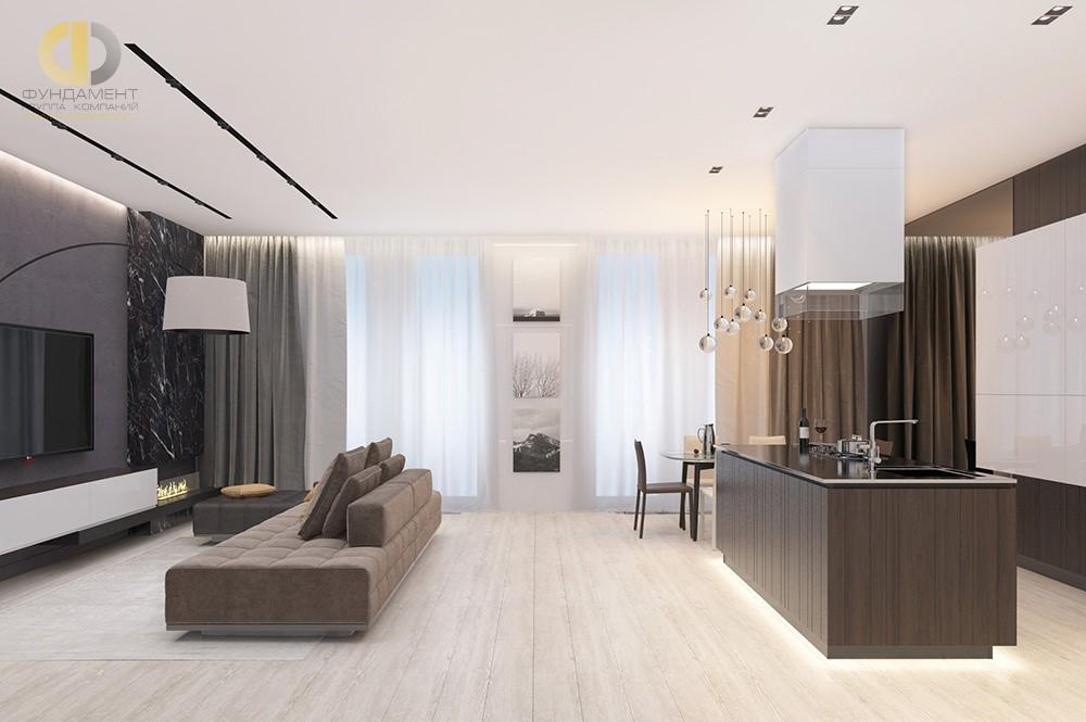 Кухня-гостиная в классическом стиле в квартире.