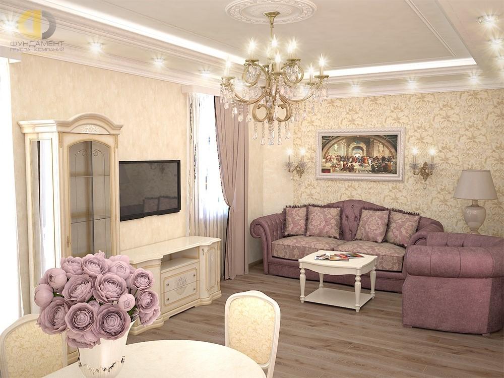 Гостиная в классическом стиле в ЖК «Нагорный»