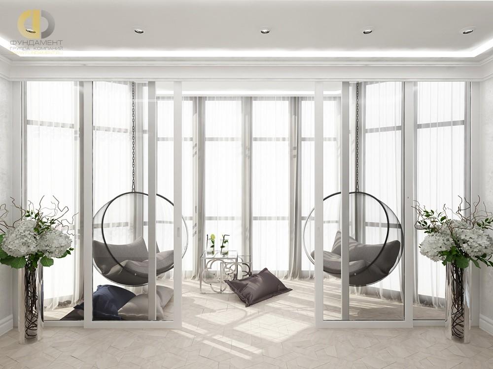 Интерьер лоджии с раздвижными дверьми