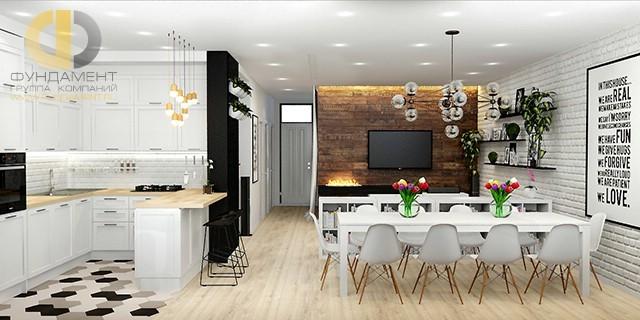 Дизайн кухни-гостиной в стиле лофт. Фото интерьера 2018 года