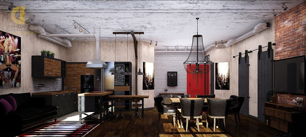 Дизайн кухни-гостиной в стиле лофт. Фото 2018