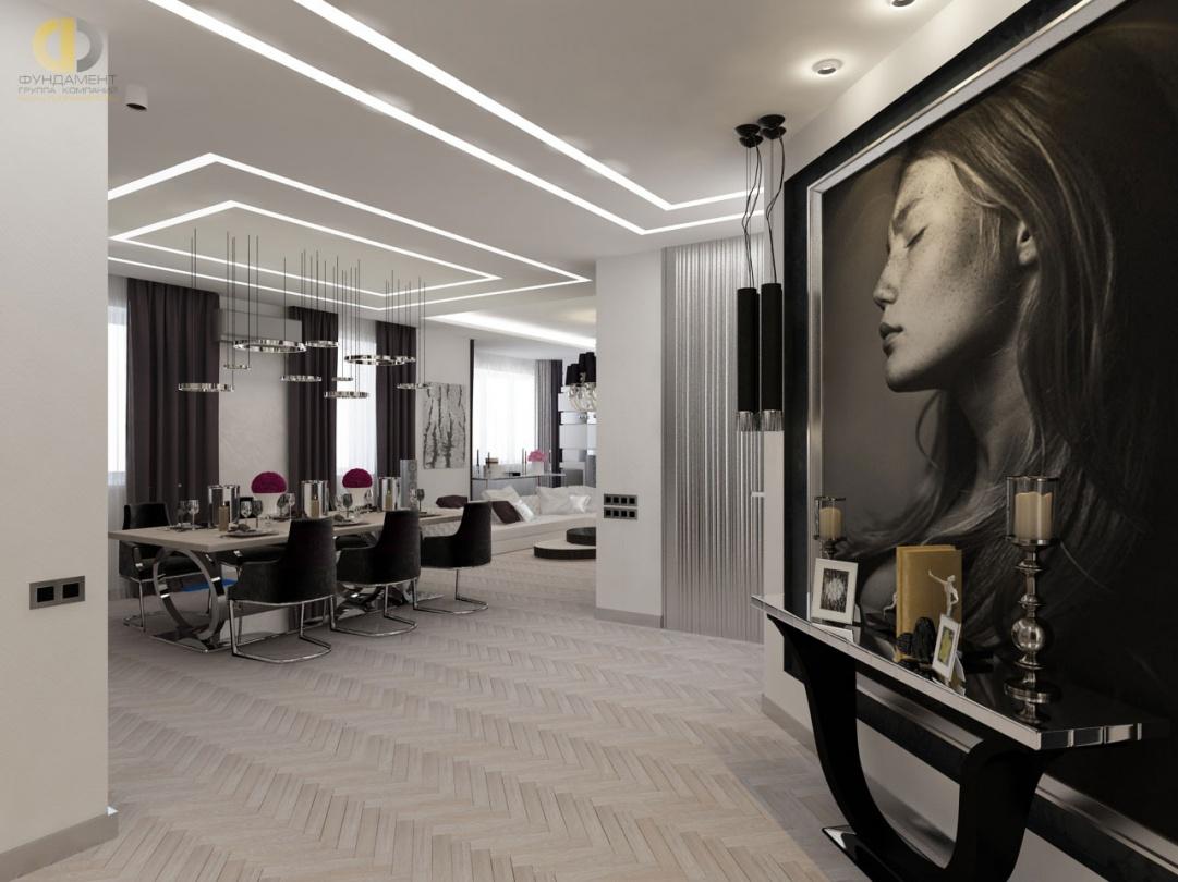 Дизайн помещений прихожей и кухни-гостиной в трехкомнатной квартире