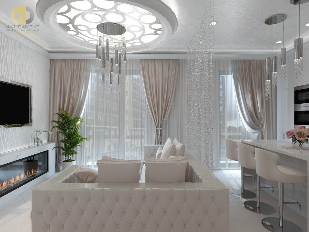 Кухня-гостиная с хрустальными шторами в квартире. Фото интерьера