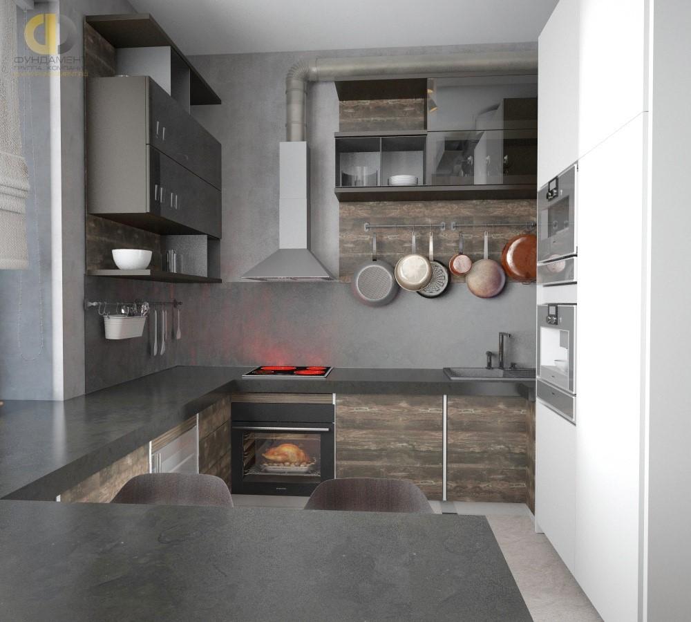 Дизайн кухни в стиле лофт. Фото интерьера 2018 года