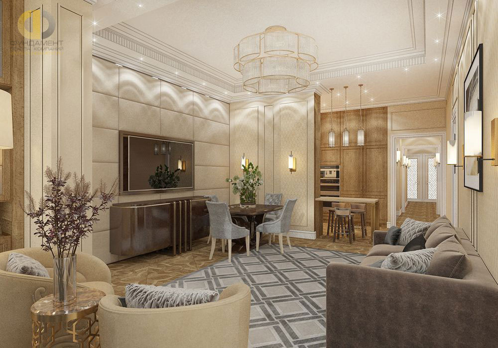 Интерьер гостиной в серых тонах в современном стиле. Фото 2018