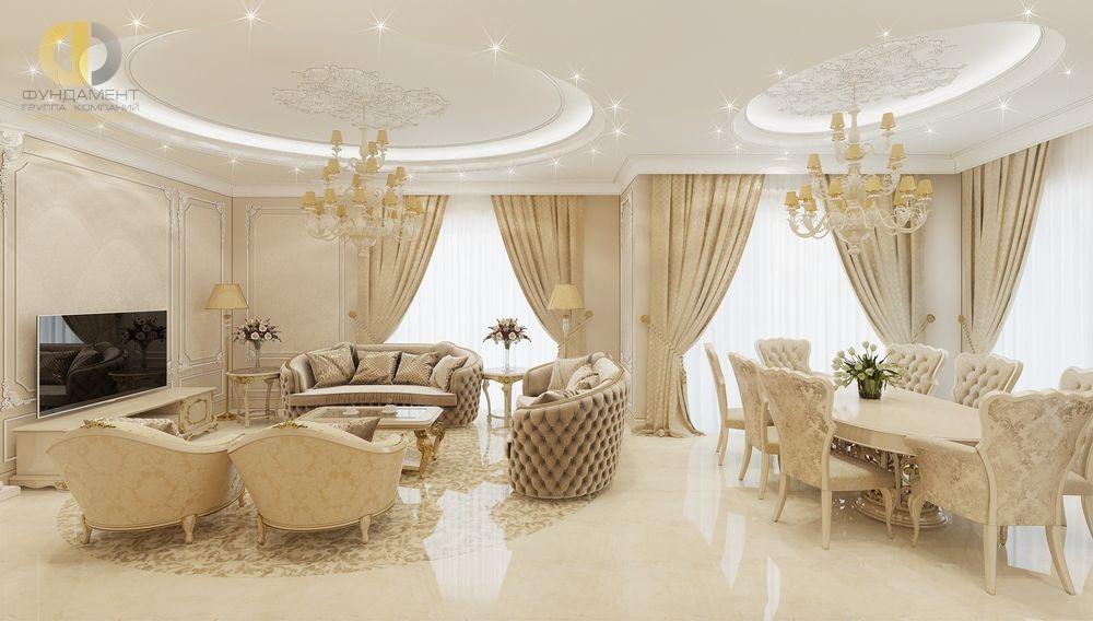 Бежевая гостиная-столовая в стиле ар-деко
