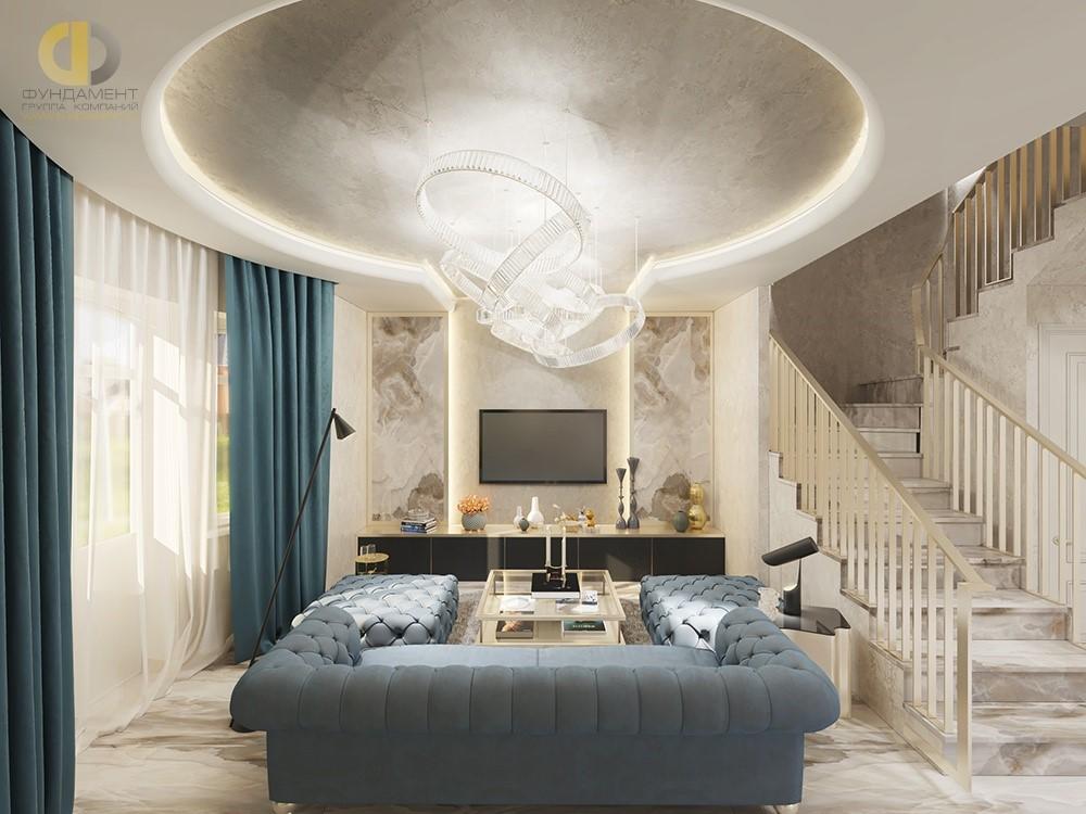 Дизайн гостиной комнаты в современном стиле. Проект 2018 года