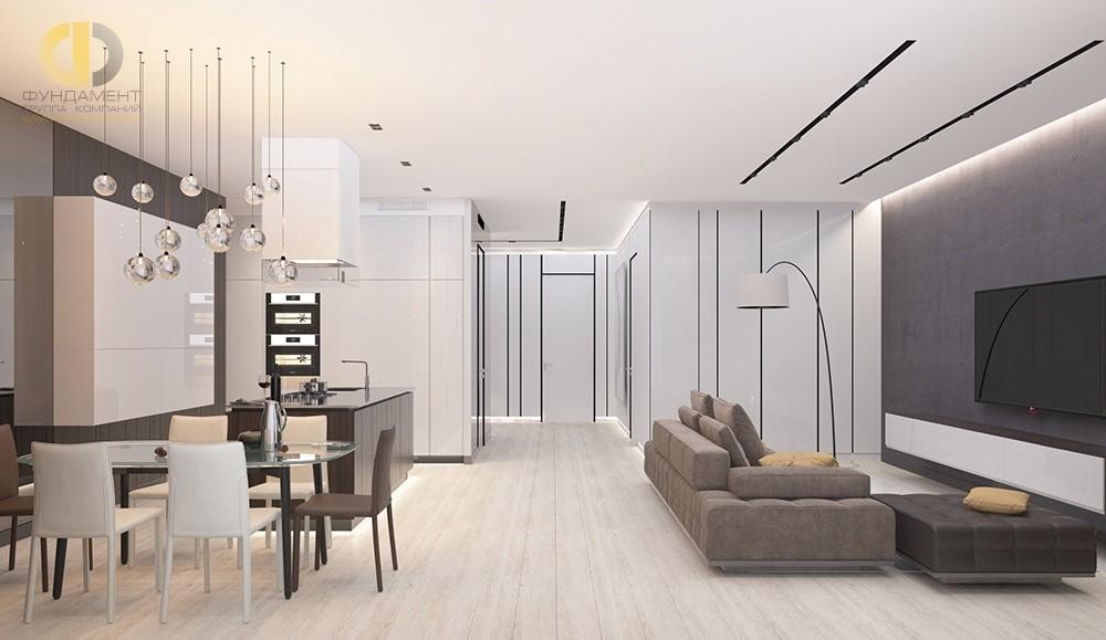Интерьер белой кухни-гостиной с темными акцентами