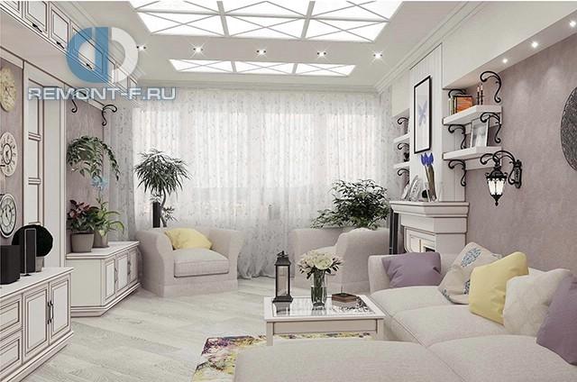 Гостиная в квартире в стиле прованс. Фото интерьера с камином