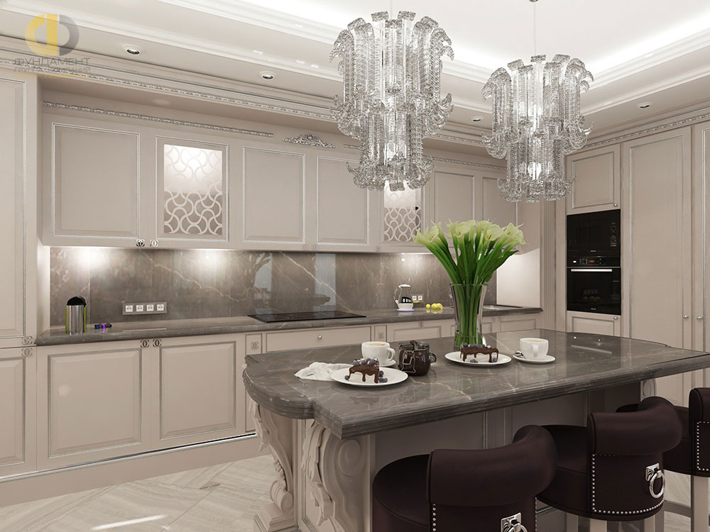Дизайн монохромной кухни в стиле неоклассика на набережной Академика Туполева