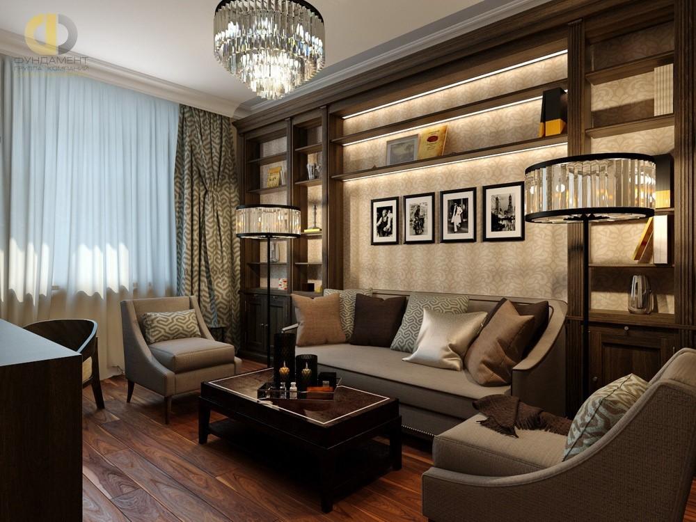 Кабинет в современном стиле в квартире. Фото 2018