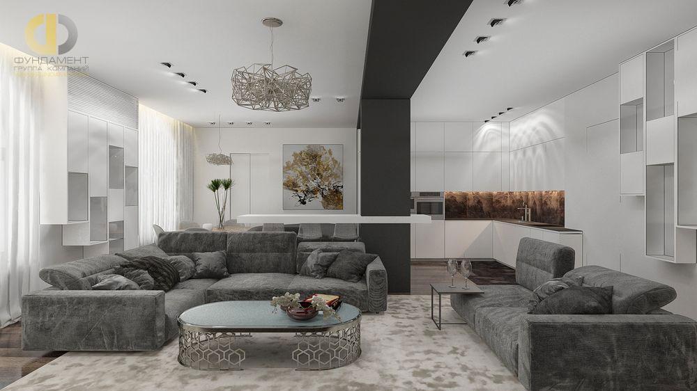 Интерьер белой кухни-гостиной в квартире