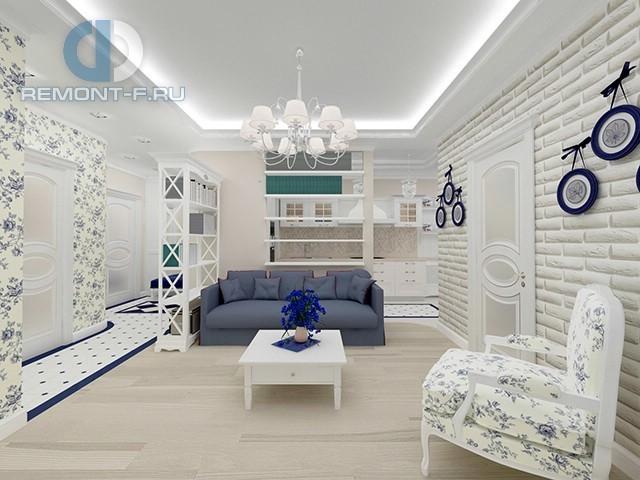 Гостиная в квартире в стиле прованс. Фото интерьера в светлых тонах