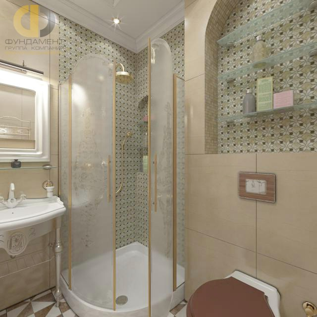 Дизайн ванной комнаты с обоями и плиткой фото дизайн 13