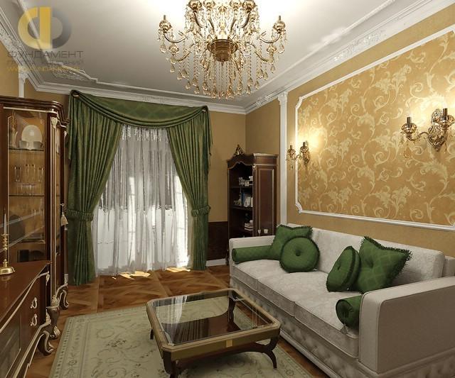 Гостиная в стиле классика с лепными потолочными карнизами
