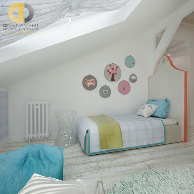 Дизайн детской комнаты для девочки. Фото интерьера в мансарде
