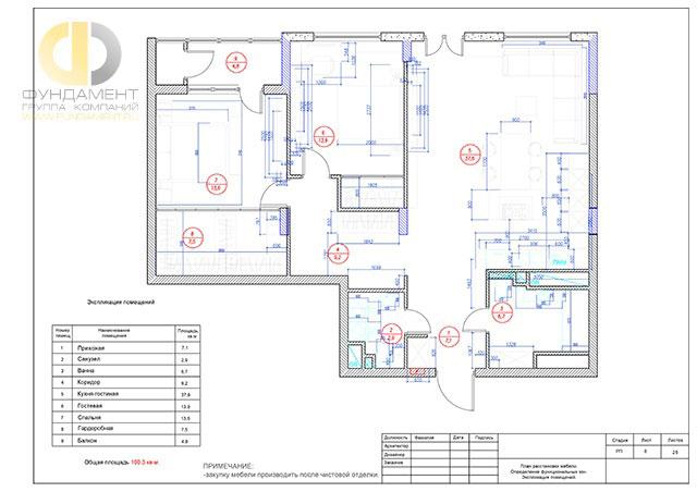 План расстановки мебели в квартире в ЖК «Дубровка»
