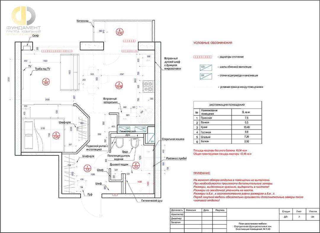 План расстановки мебели в квартире 43 кв. м. Фото 2018