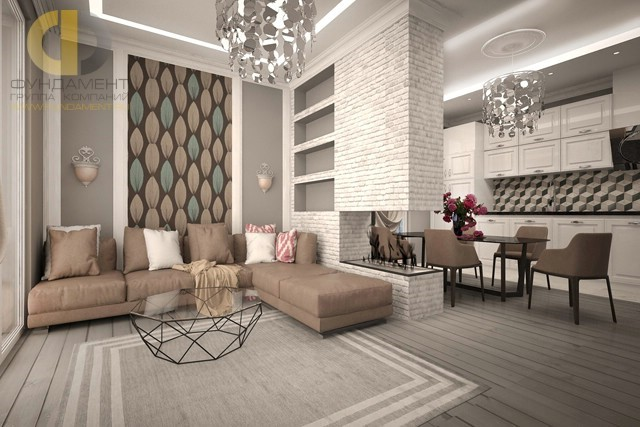 Ремонт в скандинавском стиле в кухне-гостиной московской квартиры
