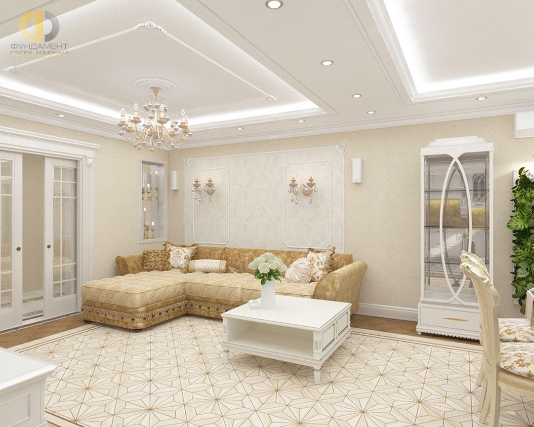 Дизайн гостиной комнаты в квартире в классическом стиле. Фото 2018